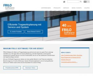 Titelseite der Internetpräsenz von Frilo Software GmbH