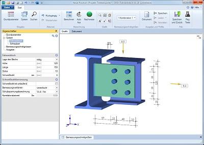 Screenshot des Berechnungsprogramms Fahnenblech SFB+