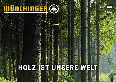 Screenshot eines Ausschnitts der Startseite der Firma Münchinger