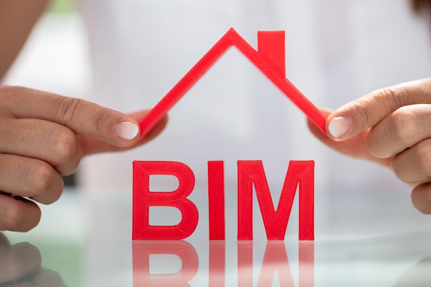 Hausdach über den Buchstaben BIM als Symbol für Fachübersetzungen aus dem Bereich Gebäudeplanung